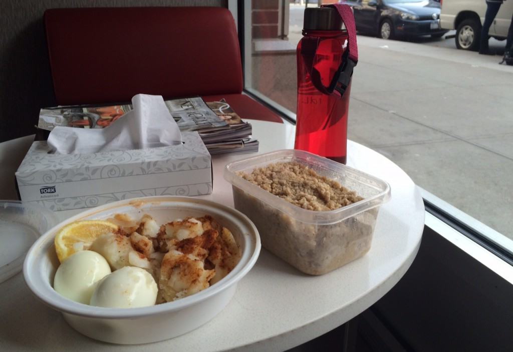 Saturday Breakfast: Cod, Eggs, and Oatmeal, all eaten at the gym.