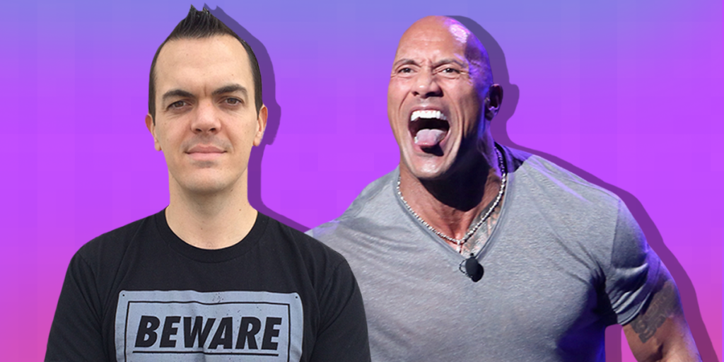 May have made my head look a bit misshapen, but cool to be shown with The Rock (credit: Techinsider)