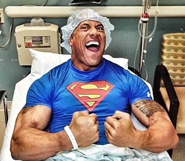 The Rock shared this immediately following emergency hernial surgery.