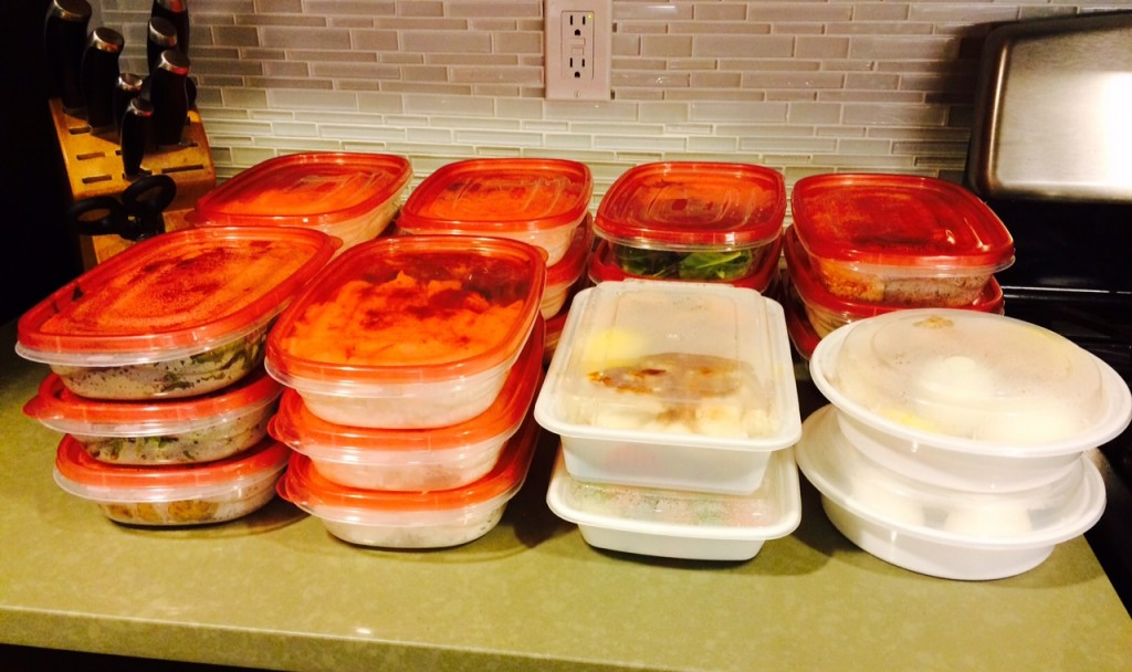 Four days worth of food (not pictured: first meals, 10 egg-white omelets, protein shakes)